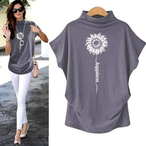 Sundara - Happiness Sunflower Casual Turtleneck Blouse Blouses & Shirts Just Superb Free Shipping