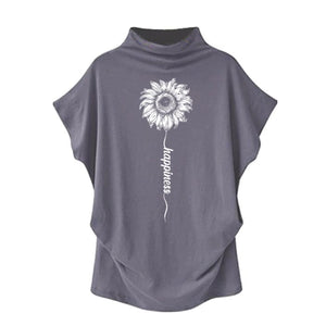 Sundara - Happiness Sunflower Casual Turtleneck Blouse Gray / S (4 US) (8 UK) Blouses & Shirts Just Superb Free Shipping