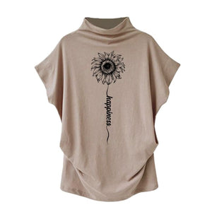 Sundara - Happiness Sunflower Casual Turtleneck Blouse Khaki / S (4 US) (8 UK) Blouses & Shirts Just Superb Free Shipping