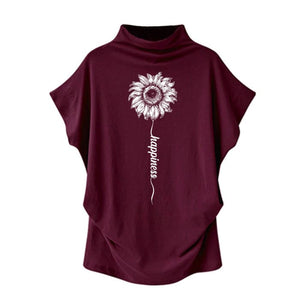 Sundara - Happiness Sunflower Casual Turtleneck Blouse Red / S (4 US) (8 UK) Blouses & Shirts Just Superb Free Shipping