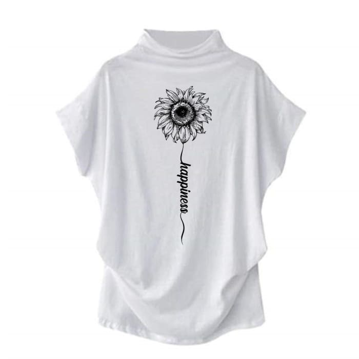 Sundara - Happiness Sunflower Casual Turtleneck Blouse White / S (4 US) (8 UK) Blouses & Shirts Just Superb Free Shipping