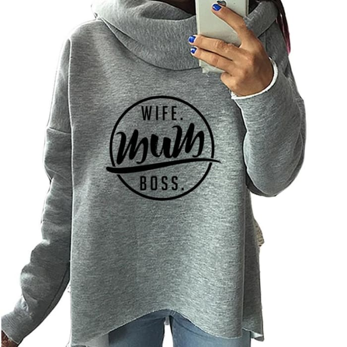 Wifey - Famous Wife - Mum - Boss Hoodie For Her (UK / AU Version) Mum Gray / S (US XXS) (UK XS) Hoodie Just Superb Free Shipping