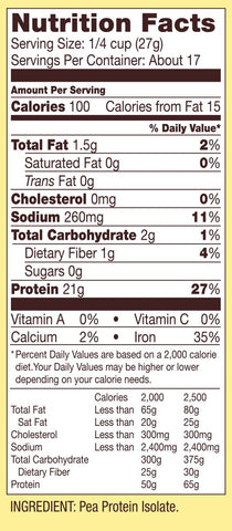 Bobs Red Mill Pea Protein Ingredients