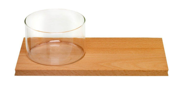 Breakfast board with glass bowl
