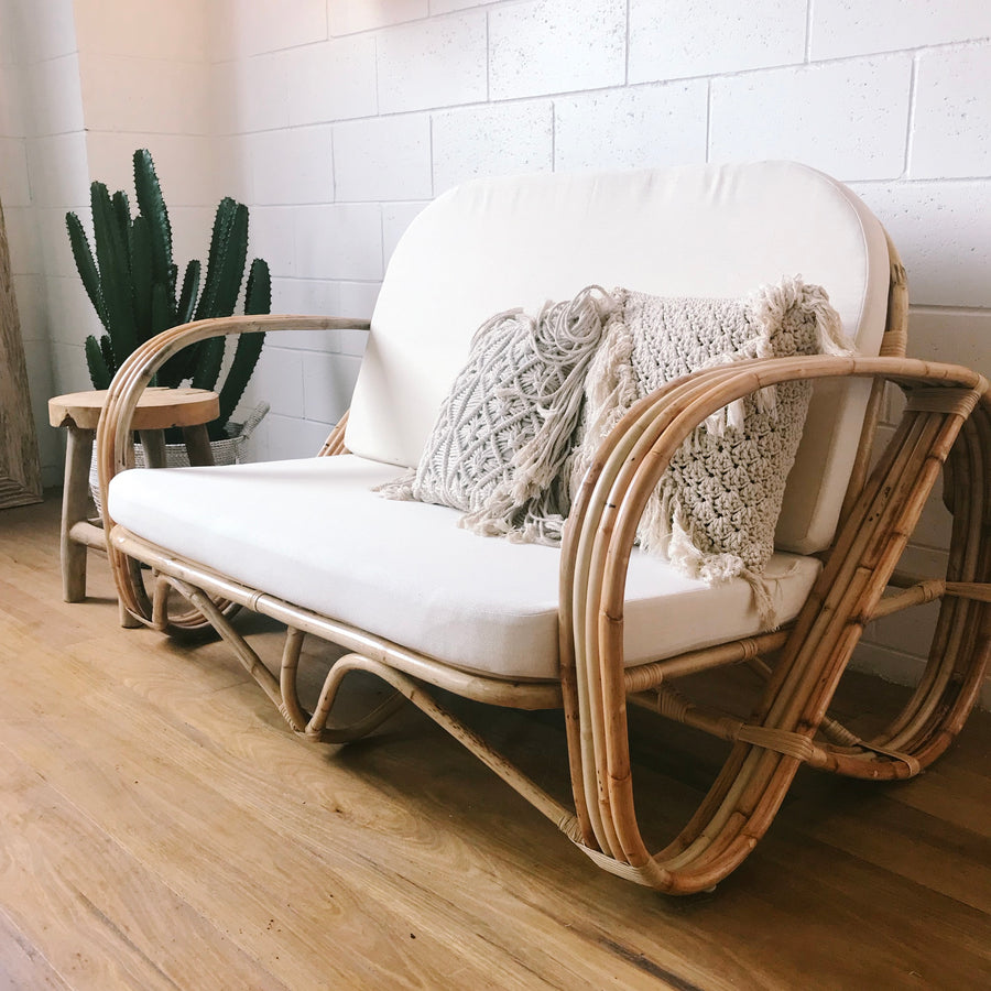 Pretzel Blonde Rattan 2 Seater Lounge
