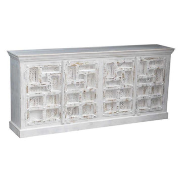 Indian White Wash Timber 4 Door Sideboard | Assorted Designs