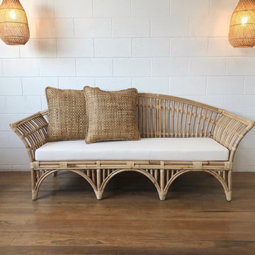 Natural Bangalow Split Cane 3 Seater Lounge