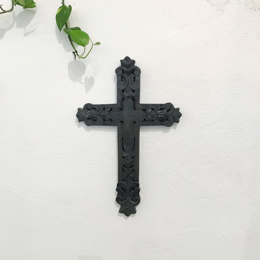 Black Carved Timber Cross Wall Art