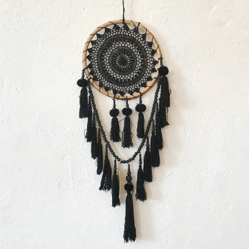 Black Round Crochet Wall Hanging