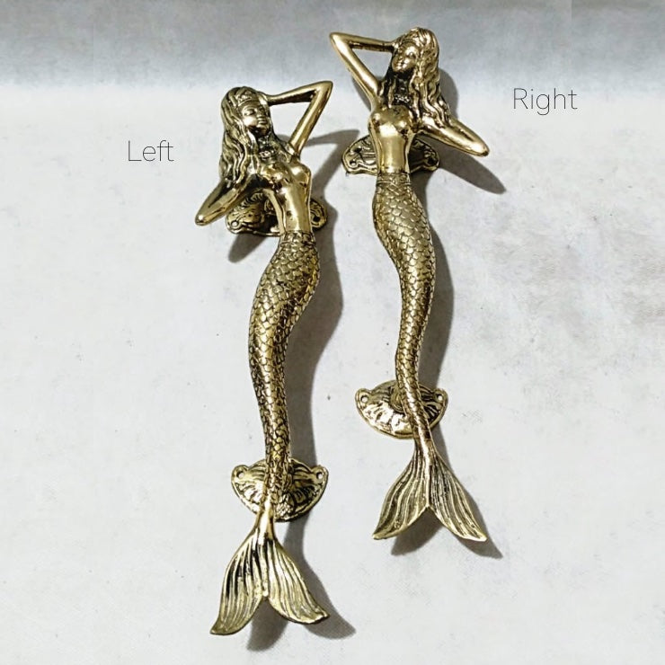 Dancing Mermaids Brass Door Handle