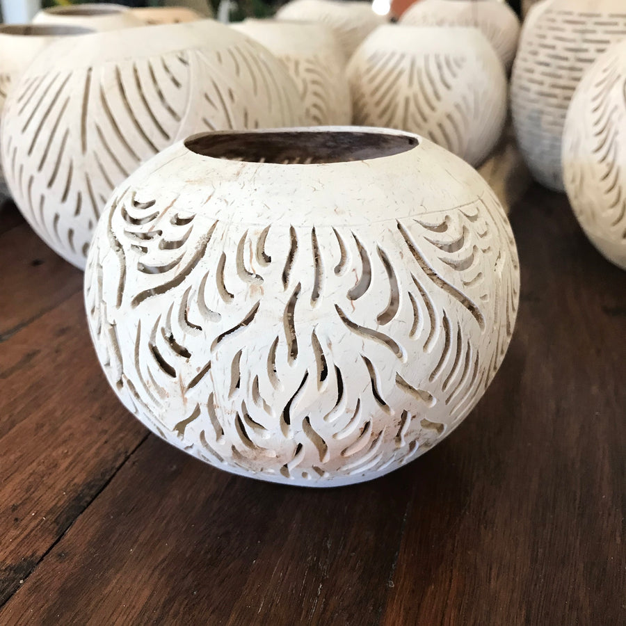 Sandy Carved Coconut Tea Light Cover