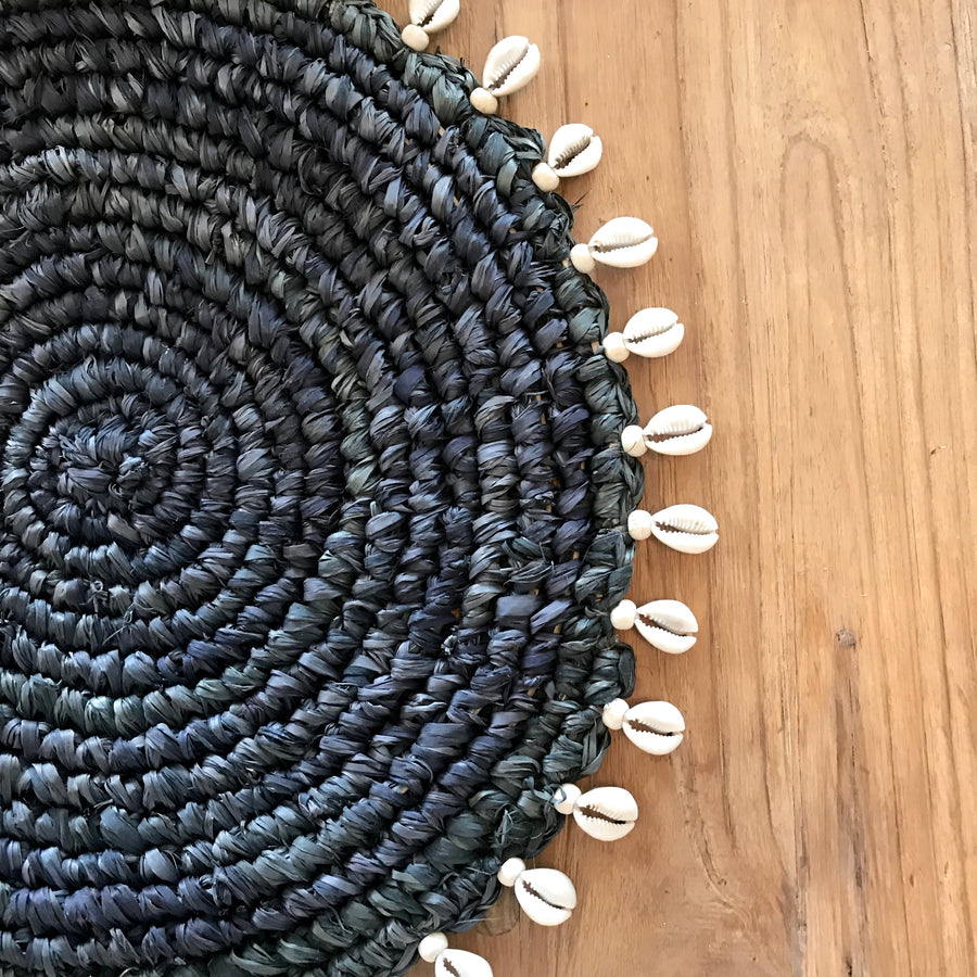 Black Woven Cowrie Shell Placemat