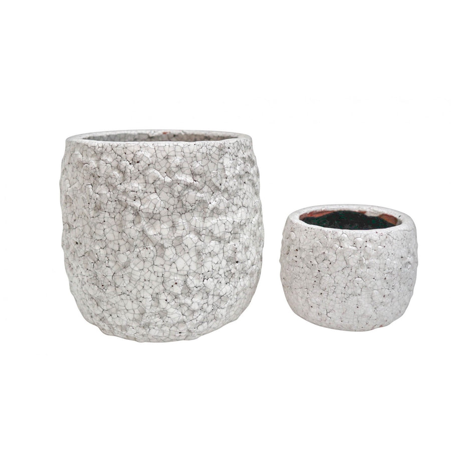 Crackled White Terracotta Pots