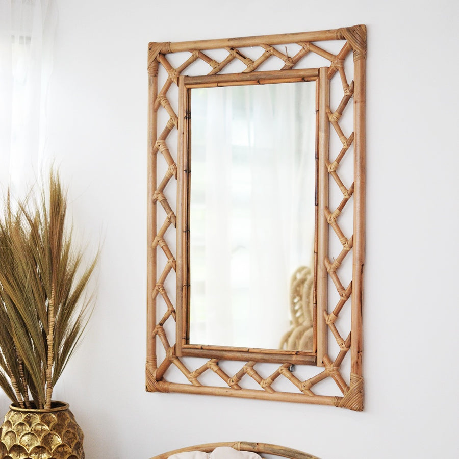 Decorative Rectangular Rattan Mirror