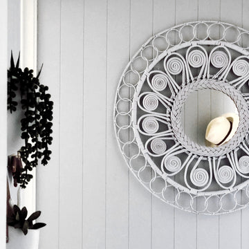 White Decorative Round Rattan Mirror