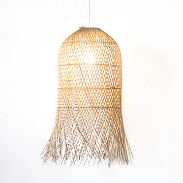 Dome Cross Weave Rattan Pendant