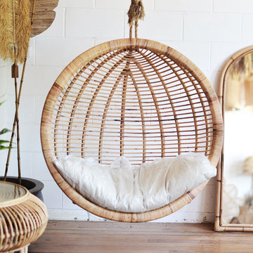 Dusk Single Round Cane Hanging Chair | Small