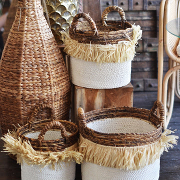 Fringe Natural & White Round Basket | Assorted Sizes