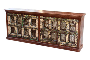 Indian Natural Timber 4 Door Sideboard