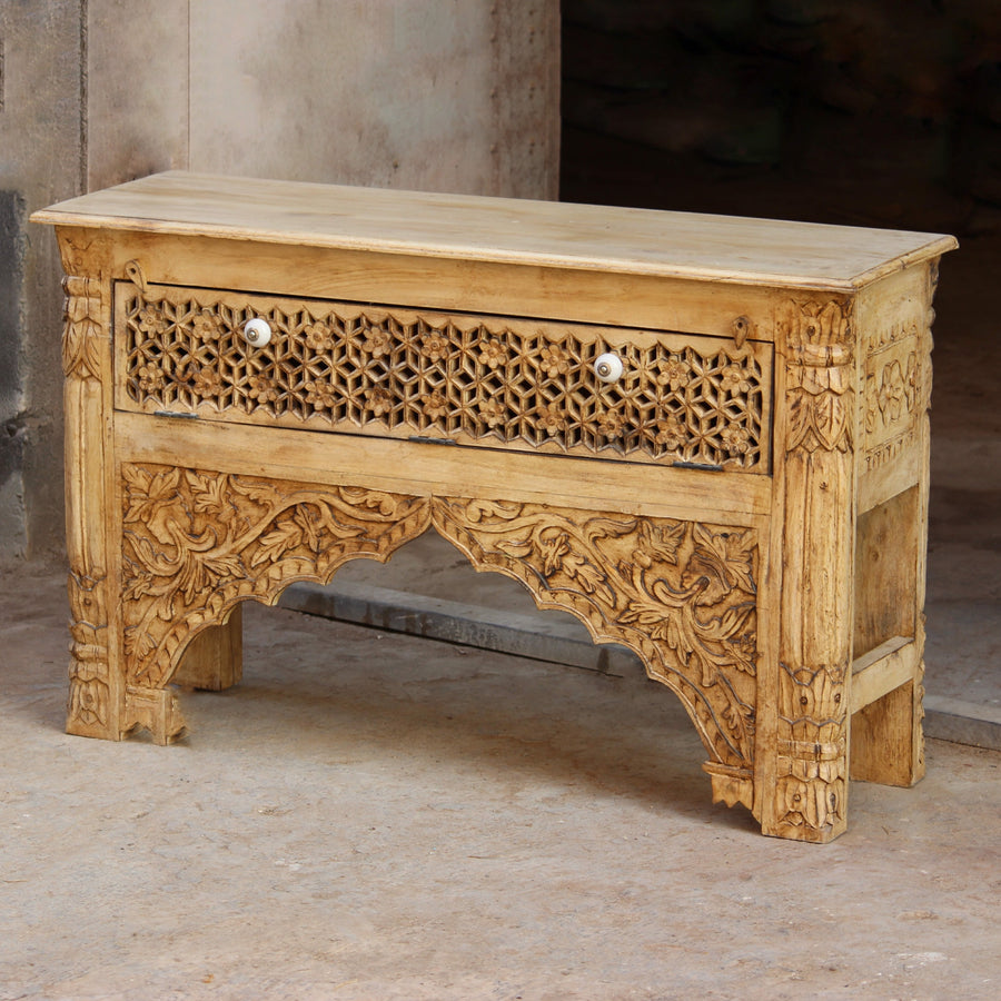Indian Jaali Carved Console Table