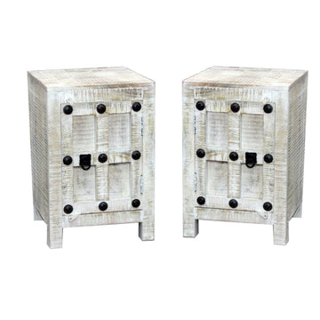 Indian White Wash Bedside Cabinet #002 | Set of 2