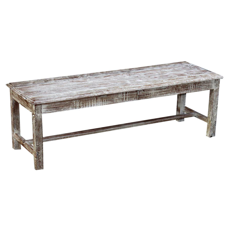 Indian White Wash Timber Bench Seat