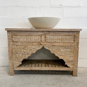 Kalak White Wash Carved Teak Vanity
