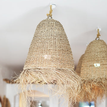 Large Natural Seagrass Fringe Pendant