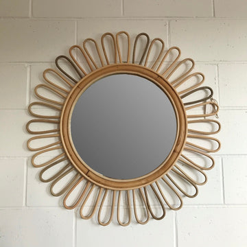 Large Sunflower Rattan Mirror