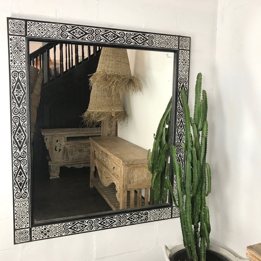 Tribal Carved Timber Mirror