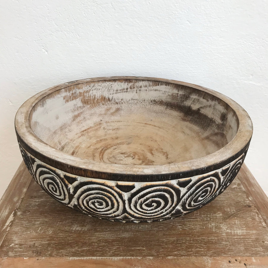 Large Tribal Carved Swirl Coconut Timber Bowl