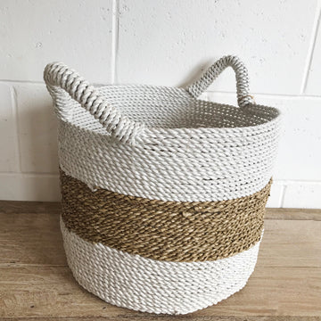 Large Woven Natural + White Stripe Basket