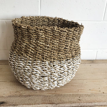 Large Woven Natural & White Two Tone Basket