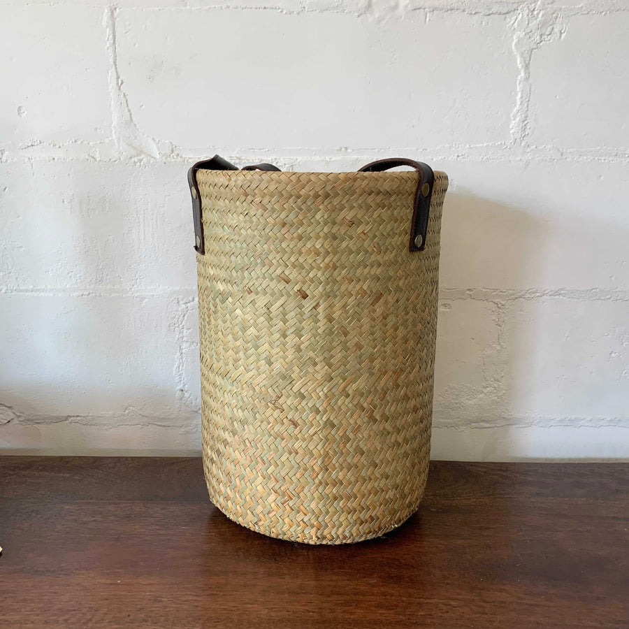 Large Leather and Seagrass Woven Basket