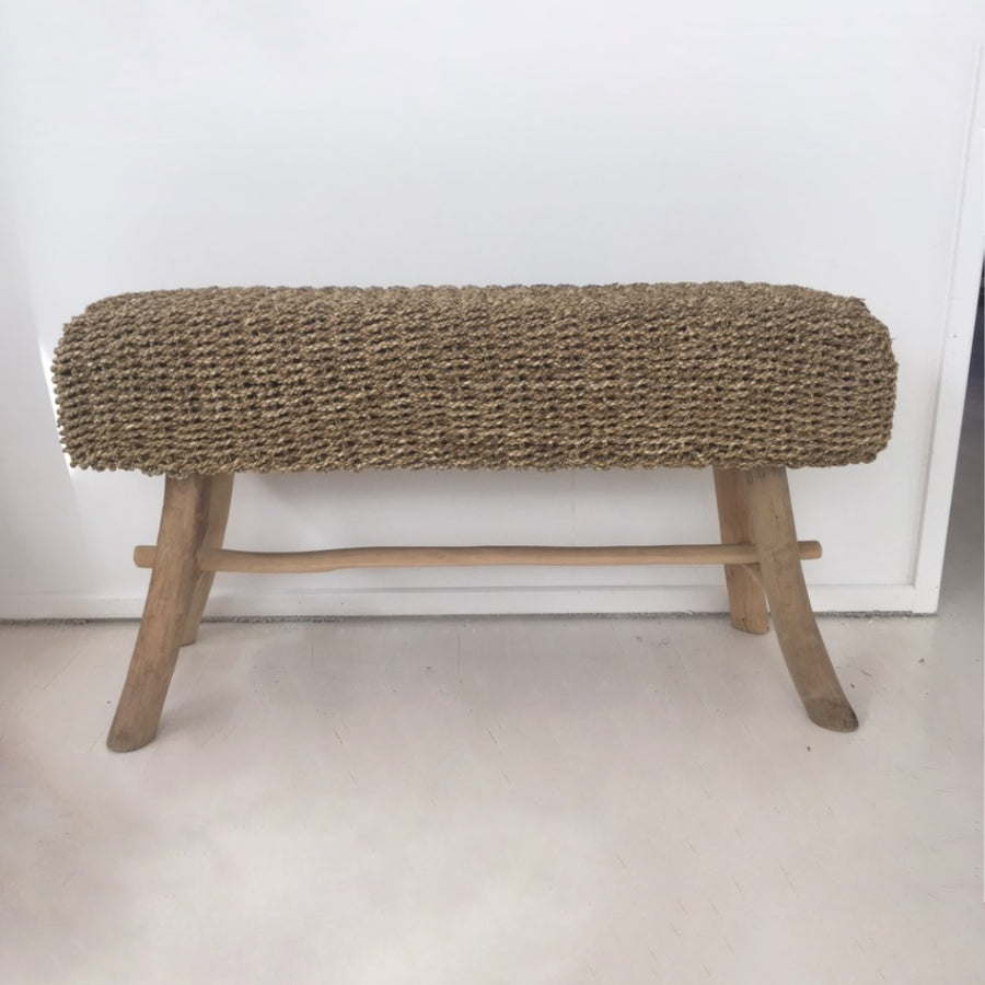 Long Natural Woven Bench Seat