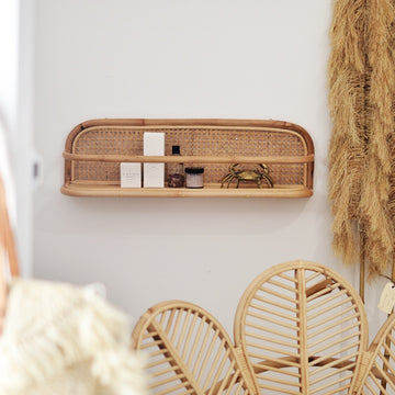 Long Rattan Weave Shelf