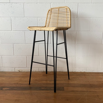 Black Low Back Steel + Rattan Bar Stool