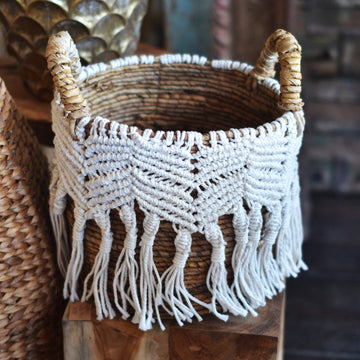 Macrame Fringe Natural & White Round Basket