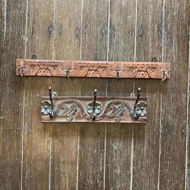 Small Vintage Indian Timber Wall Hooks