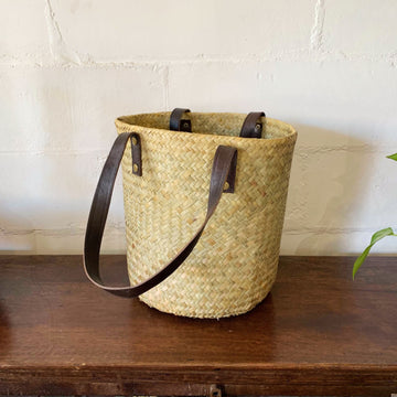 Medium Leather and Seagrass Woven Basket