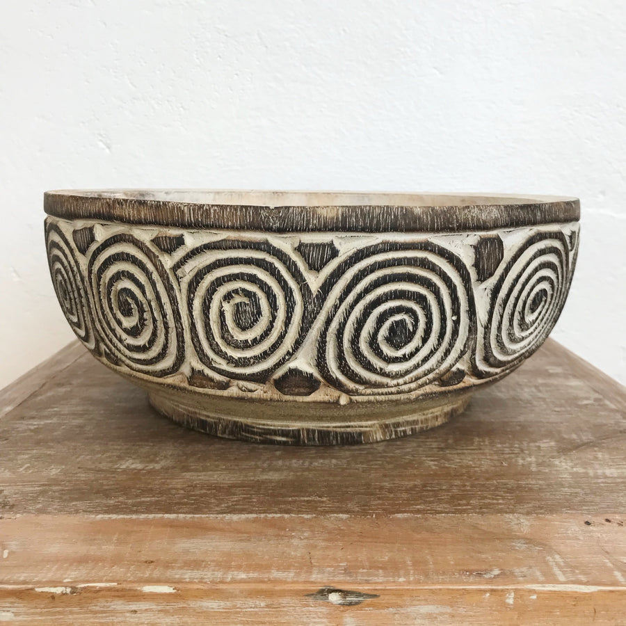 Medium Tribal Carved Swirl Coconut Timber Bowl