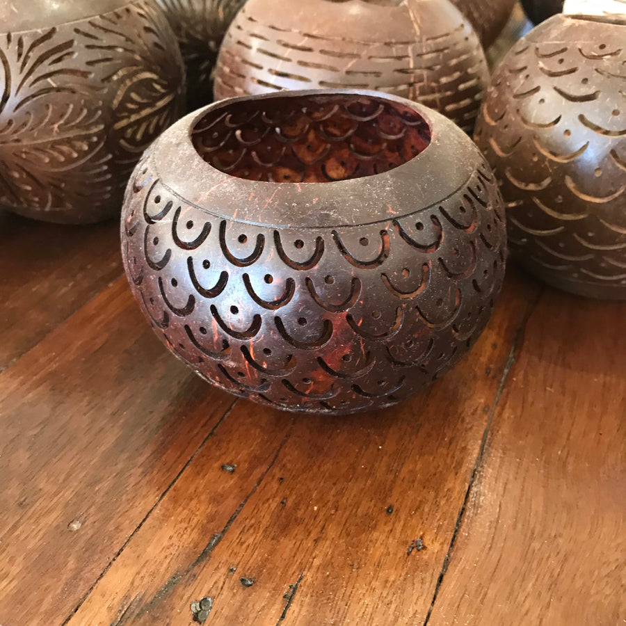 Carved Coconut Tea Light Cover