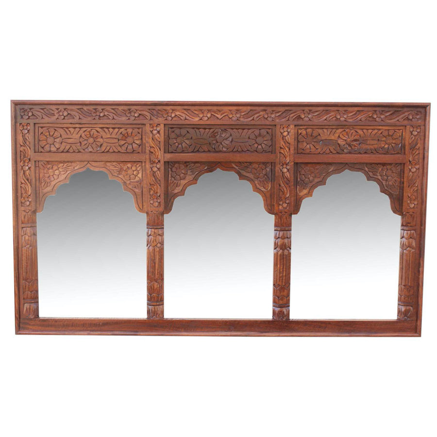 arch indian timber carved mirror
