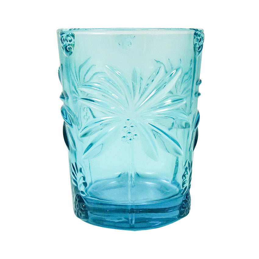 Palm Blue Glass Tumbler