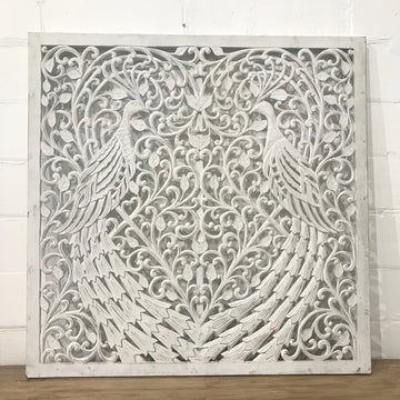 Peacock Carved Screen