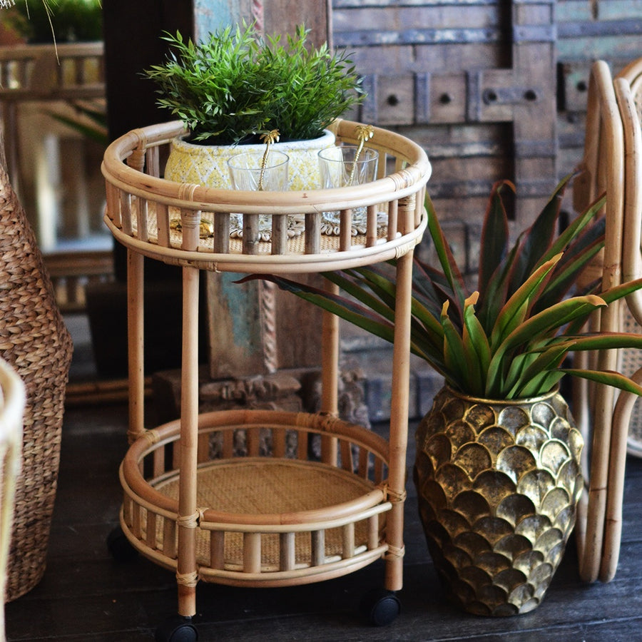 Rattan Round Side Table + Trolley
