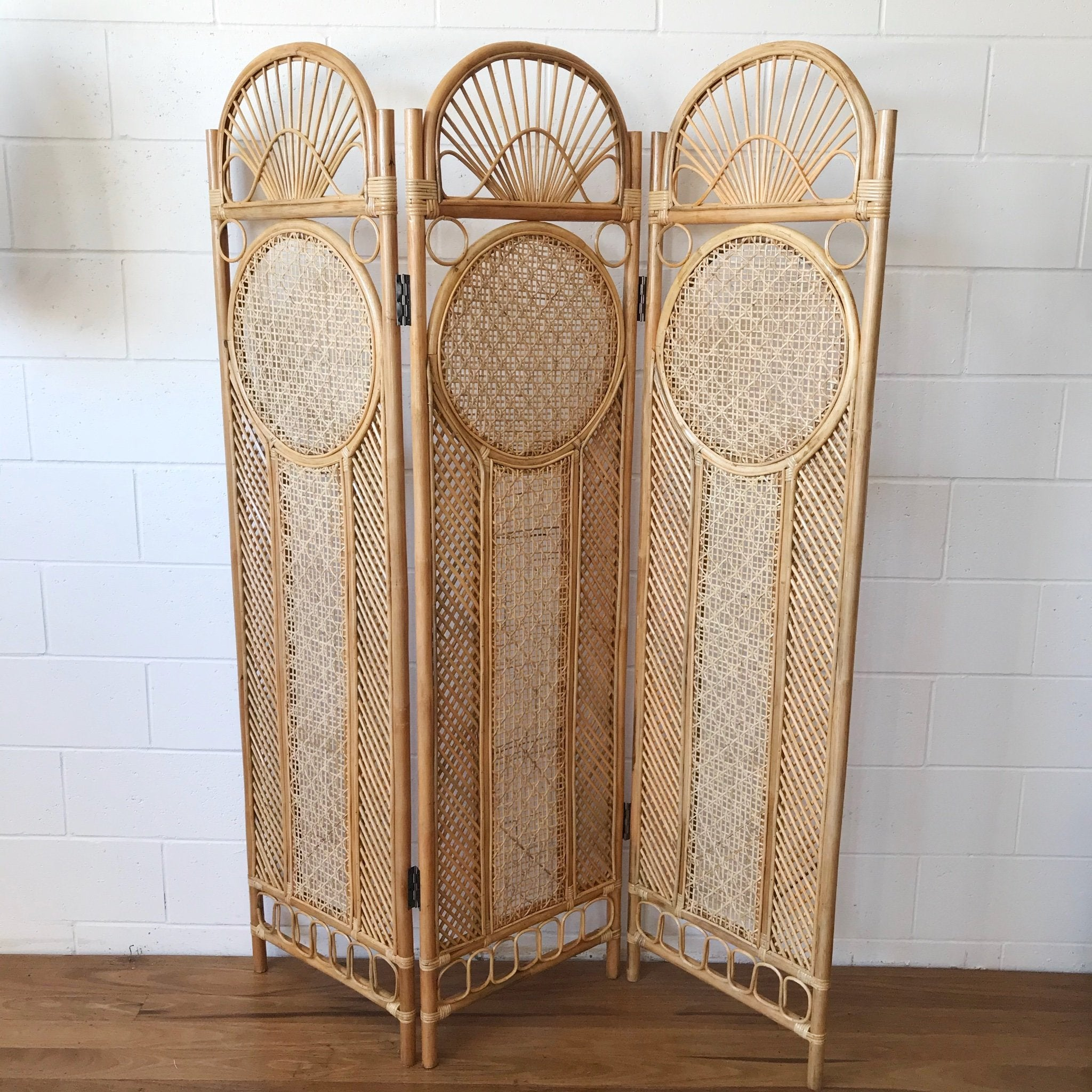 Round Rattan 3 Panel Screen Room Divider Paradise Living Co