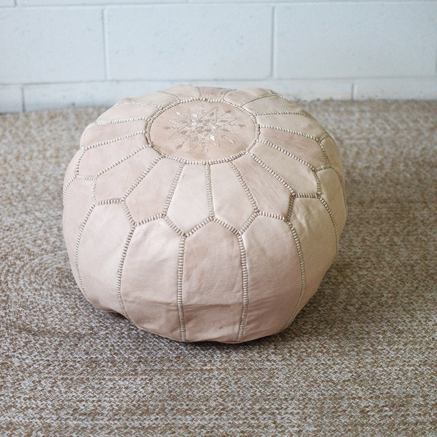 Sandy White Moroccan Leather Pouffe Cover