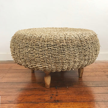 Natural Seagrass Woven Stool Ottoman