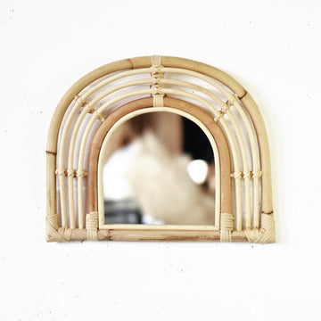 Small Rainbow Rattan Mirror